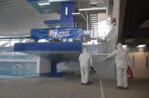 Sanitizan complejo olímpico en Alcaldía Benito Juárez